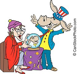 vector cartoon art of the democratic donkey standing by a fortune teller who shows the outcome of his future.