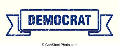 democrat grunge ribbon. democrat sign. democrat banner