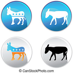 democrat icon button images isolated on a white background.