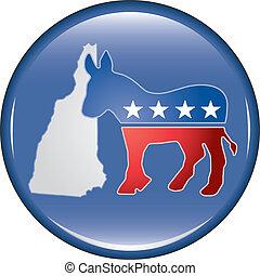 Democrat New Hampshire Button