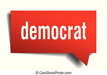 democrat red 3d speech bubble