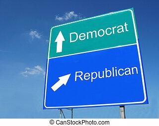 Democrat-Republican road sign