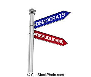 Democrat Republicans Direction Sign