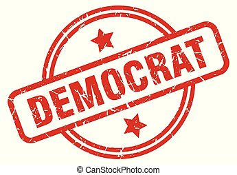 democrat round grunge isolated stamp