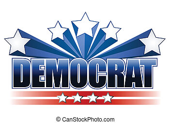Democrat sign isolated over white