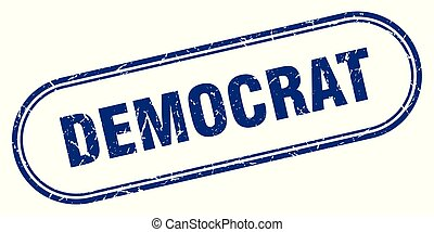 democrat stamp. democrat square grunge sign. democrat