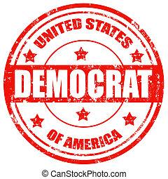 Democrat-stamp - Grunge rubber stamp with text...