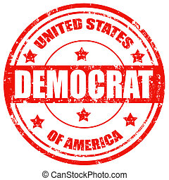 Grunge rubber stamp with text Democrat-USA, vector illustration