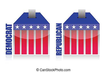 democrat vs republican ballot box