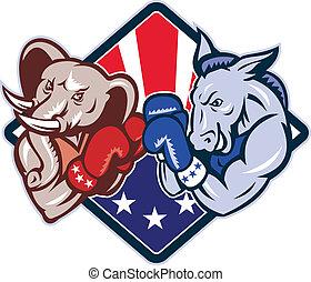 democrata, burro, republicano, elefante, mascote, boxe
