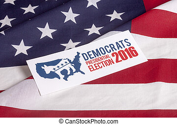democrata, eleição, voto, e, bandeira americana