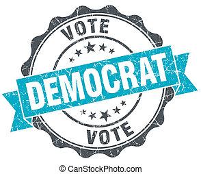 democrata, vindima, turquesa, selo, isolado, branco