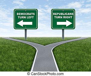 democraten, en, republikeinen, verkiezing, keuzes