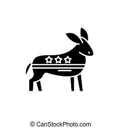 Democratic ass black icon, vector sign on isolated background. Democratic ass concept symbol, illustration