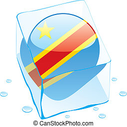 democratic congo flag frozen in ice - fully editable vector...