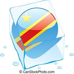 democratic congo flag frozen in ice - fully editable vector...