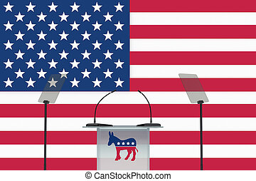 Render illustration of donkey icon on podium front, and US flag as a background.