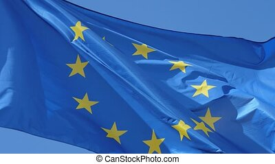 Democratic EU banner fluttering solemnly on a flagpole in...