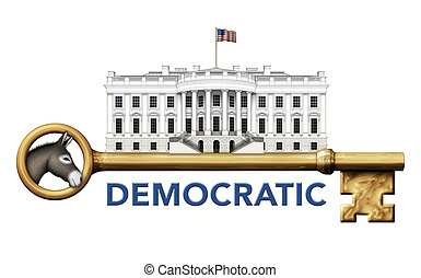 Democratic Key to the White House - Digital illustration of...