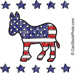 Doodle style Democratic Party donkey symbol overlaid with American flag in vector format.