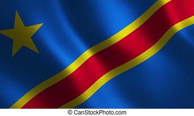 Democratic Republic Congo flag waving 3d. Abstract...