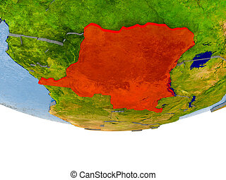 Democratic Republic of Congo in red on Earth model