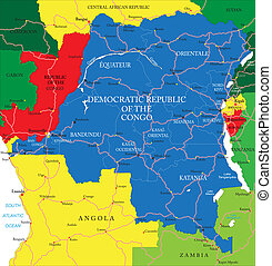 Democratic Republic of Congo map - Highly detailed vector...