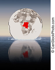 Democratic Republic of Congo on globe in water