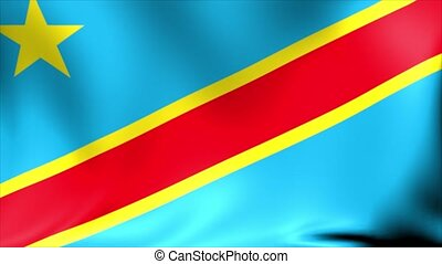 Democratic Republic of the Congo Flag. Background Seamless Looping Animation.