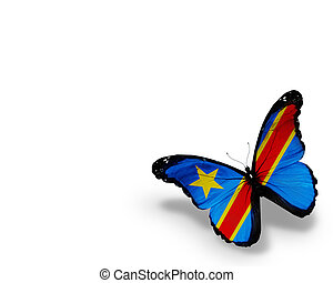 Democratic Republic of the Congo flag butterfly, isolated on...