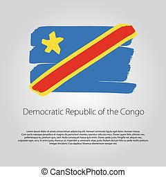 Democratic Republic of the Congo Flag with colored hand drawn lines in Vector Format
