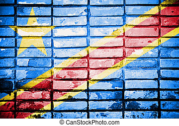 Democratic Republic of the Congo Flag on grunge wall