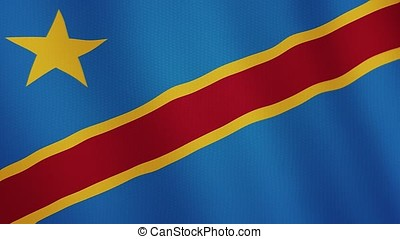 Democratic Republic of the Congo flag waving animation. Full Screen. Symbol of the country.