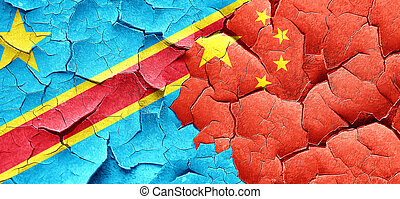 Democratic republic of the congo flag with China flag on a...