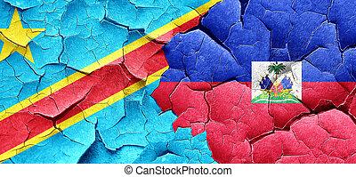 Democratic republic of the congo flag with Haiti flag on a...