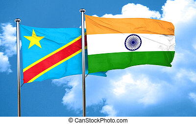 Democratic republic of the congo flag with India flag, 3D render