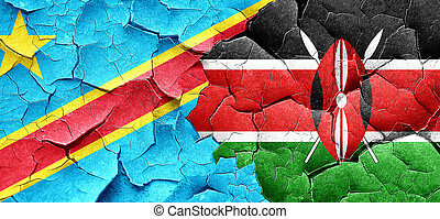 Democratic republic of the congo flag with Kenya flag on a...