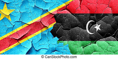 Democratic republic of the congo flag with Libya flag on a...