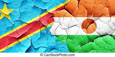 Democratic republic of the congo flag with Niger flag on a...