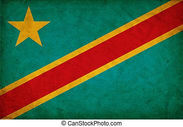 Democratic Republic of the Congo grunge flag