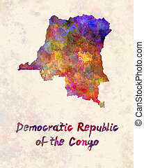Democratic Republic of the Congo  in watercolor