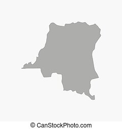 Democratic Republic of the Congo map in gray on a white background