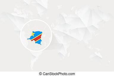 Democratic Republic of the Congo map with flag in contour on white polygonal World Map.