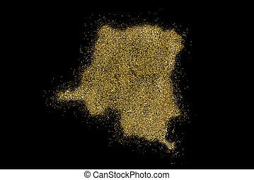 Democratic Republic of the Congo shaped from golden glitter...