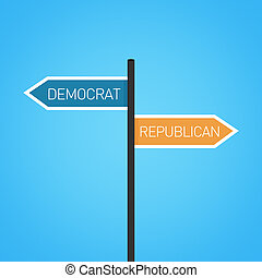 Democratic vs republican choice road sign concept, flat...