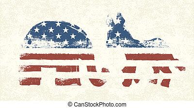 democratisch, en, republikein, politiek, symbolen