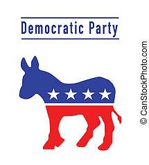 democratisch, ezel, feestje