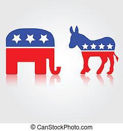 democratisch, &, republikein, symbolen