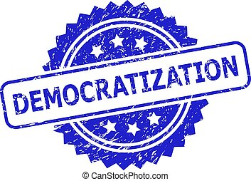 DEMOCRATIZATION Blue Rosette Stamp with Grunged Surface