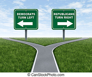 Democrats and Republicans election choices represented by a road that splits into two camps with the Democrat leaning to the left and the Republican party going right.